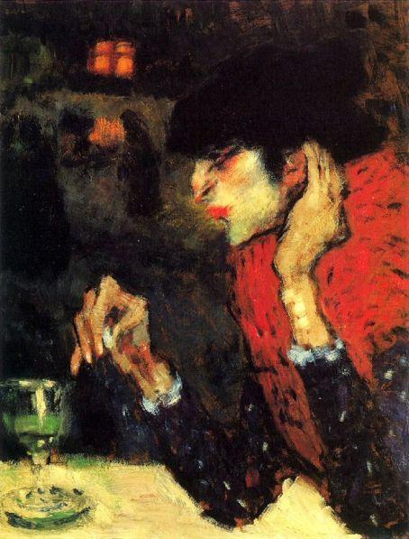 アブサンを飲む女性の画像