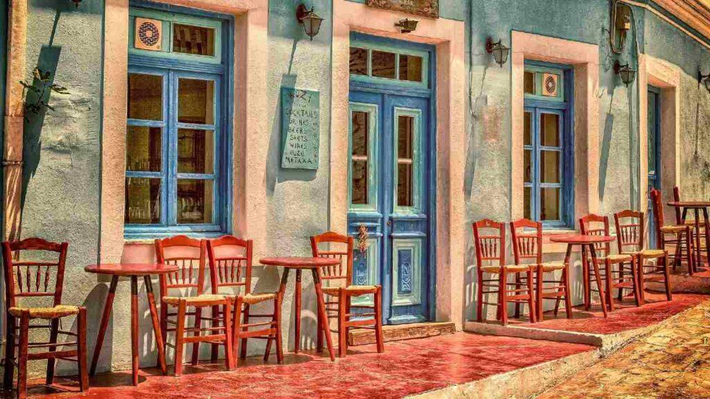 地中海にあるカフェの画像